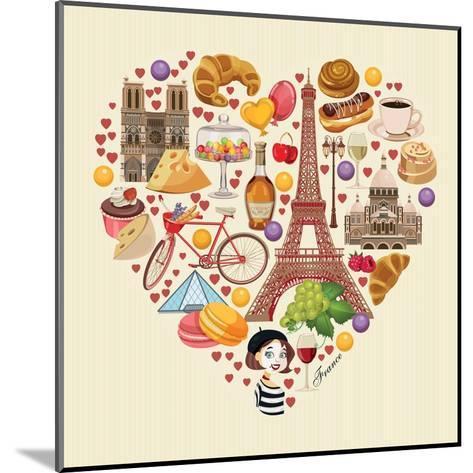 Bonjour Paris. Paris Je Taime - Text in French. Hello Paris. Paris, I Love You!-Tatsiana Tsyhanova-Mounted Art Print