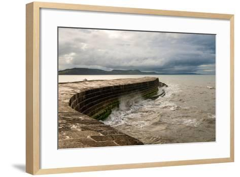 A Stormy Day at the Cobb in Lyme Regis in Dorset, England UK-Tracey Whitefoot-Framed Art Print