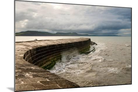 A Stormy Day at the Cobb in Lyme Regis in Dorset, England UK-Tracey Whitefoot-Mounted Photographic Print
