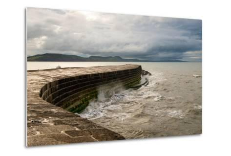 A Stormy Day at the Cobb in Lyme Regis in Dorset, England UK-Tracey Whitefoot-Metal Print
