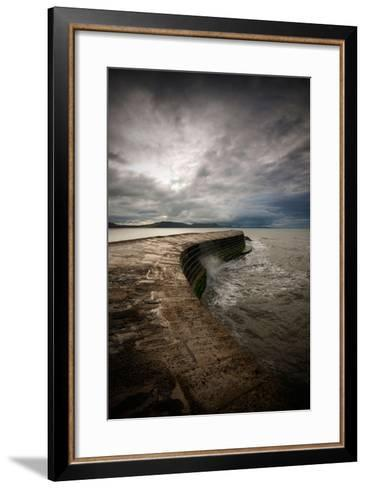 A Stormy Day on the Cobb at Lyme Regis in Dorset, England UK-Tracey Whitefoot-Framed Art Print