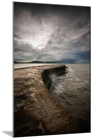A Stormy Day on the Cobb at Lyme Regis in Dorset, England UK-Tracey Whitefoot-Mounted Photographic Print