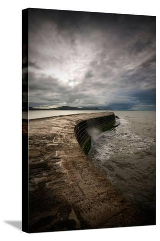 A Stormy Day on the Cobb at Lyme Regis in Dorset, England UK-Tracey Whitefoot-Stretched Canvas Print