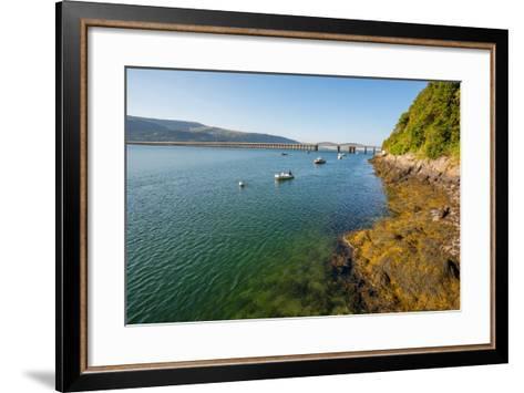 A View across the Estuary to Barmouth Viaduct Barmouth Gwynedd Wales UK-David Holbrook-Framed Art Print