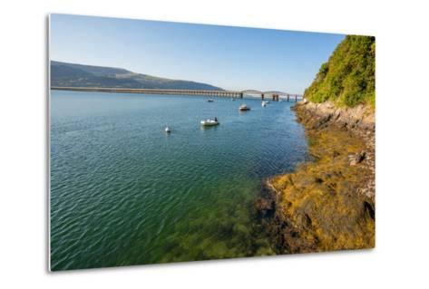 A View across the Estuary to Barmouth Viaduct Barmouth Gwynedd Wales UK-David Holbrook-Metal Print