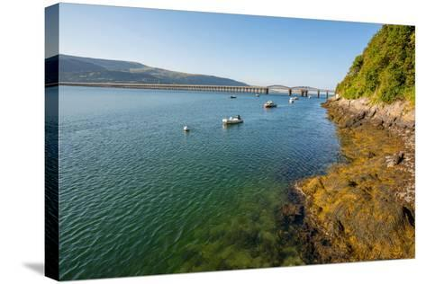 A View across the Estuary to Barmouth Viaduct Barmouth Gwynedd Wales UK-David Holbrook-Stretched Canvas Print