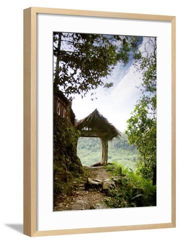 A Tranquil Garden Path in the Mountains-Tyler Olson-Framed Art Print