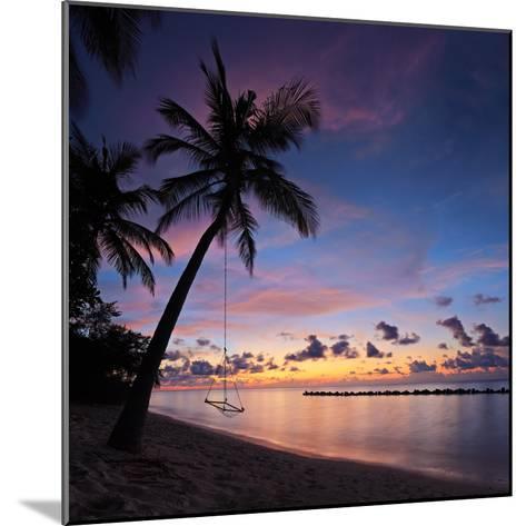 A View of a Beach with Palm Trees and Swing at Sunset, Kuredu Island, Maldives, Lhaviyani Atoll-Ljsphotography-Mounted Photographic Print