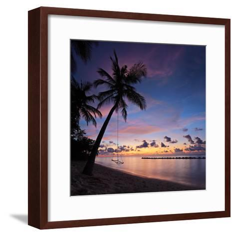 A View of a Beach with Palm Trees and Swing at Sunset, Kuredu Island, Maldives, Lhaviyani Atoll-Ljsphotography-Framed Art Print