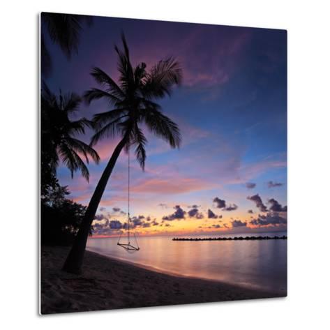 A View of a Beach with Palm Trees and Swing at Sunset, Kuredu Island, Maldives, Lhaviyani Atoll-Ljsphotography-Metal Print
