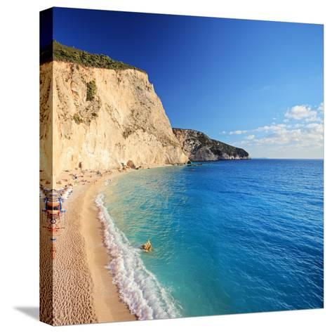 A View of a Beach at Lefkada Island, Greece, Shot with a Tilt and Shift Lens-Ljsphotography-Stretched Canvas Print