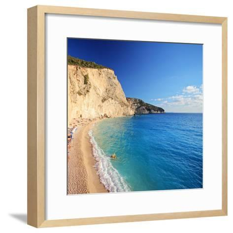 A View of a Beach at Lefkada Island, Greece, Shot with a Tilt and Shift Lens-Ljsphotography-Framed Art Print