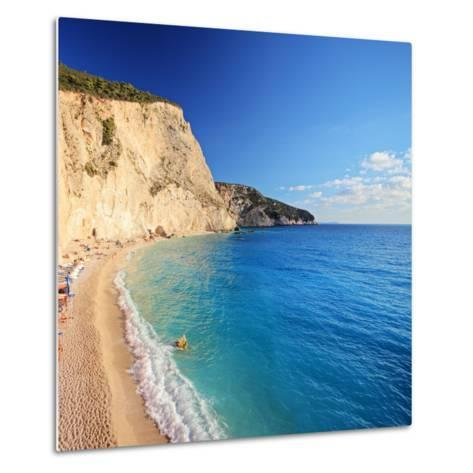 A View of a Beach at Lefkada Island, Greece, Shot with a Tilt and Shift Lens-Ljsphotography-Metal Print