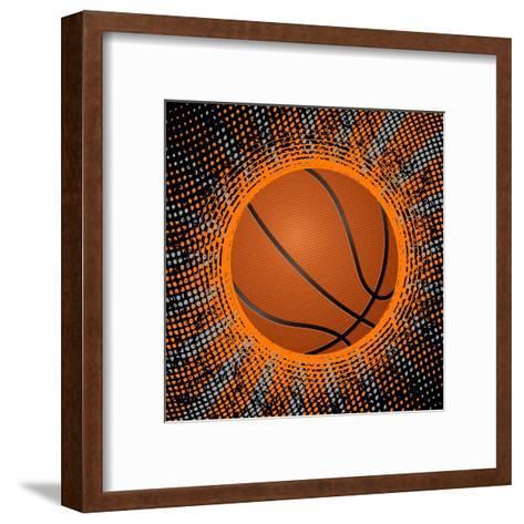 Abstract Grunge Basketball. Illustration- Julydfg-Framed Art Print