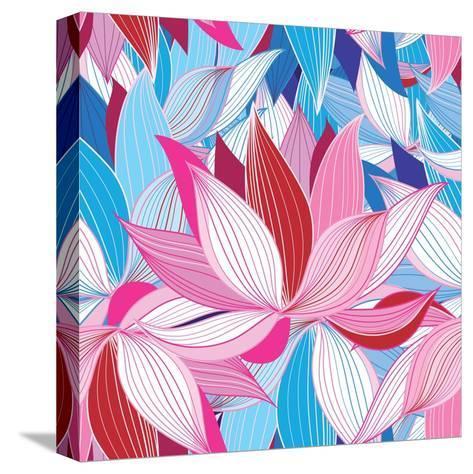 Beautiful Lotus Flower Pattern-Tatiana Korchemkina-Stretched Canvas Print