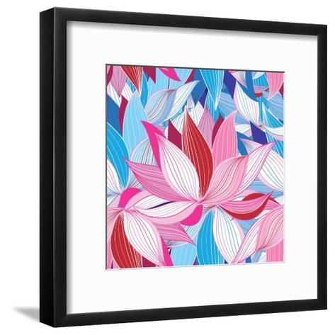 Beautiful Lotus Flower Pattern-Tatiana Korchemkina-Framed Art Print