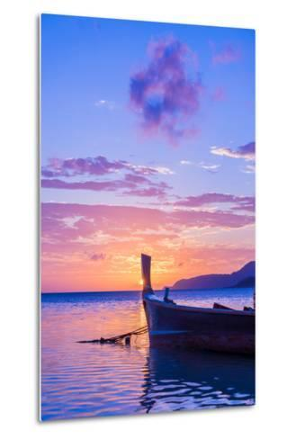 Beautiful Sunrise in Rawai Phuket Island Thailand with Long Tailed Boat Ruea Hang Yao-Remy Musser-Metal Print