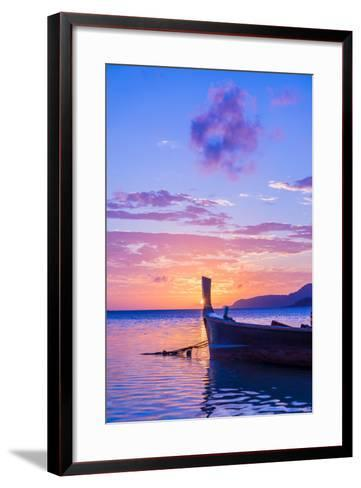 Beautiful Sunrise in Rawai Phuket Island Thailand with Long Tailed Boat Ruea Hang Yao-Remy Musser-Framed Art Print