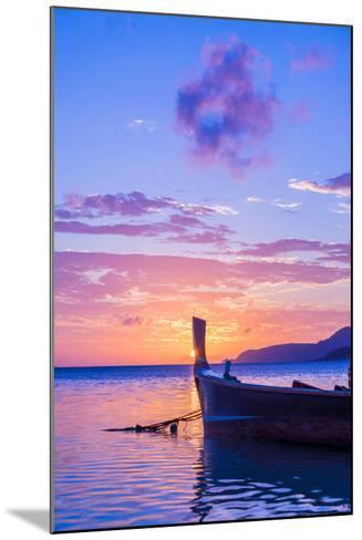 Beautiful Sunrise in Rawai Phuket Island Thailand with Long Tailed Boat Ruea Hang Yao-Remy Musser-Mounted Photographic Print