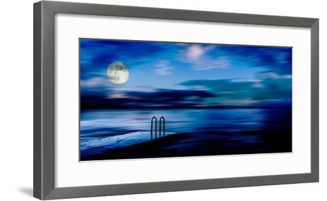 A Atmospheric Evening Shot of a Jetty Featuring a Full Moon and Blue Sky in Slovenia, Europe-Ray Watkins-Framed Art Print
