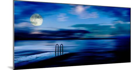 A Atmospheric Evening Shot of a Jetty Featuring a Full Moon and Blue Sky in Slovenia, Europe-Ray Watkins-Mounted Photographic Print
