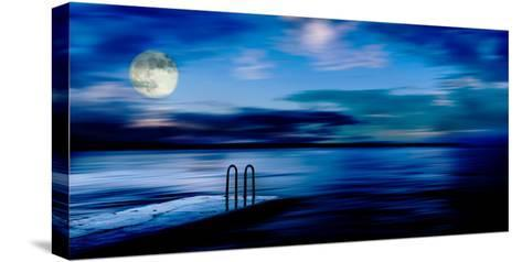 A Atmospheric Evening Shot of a Jetty Featuring a Full Moon and Blue Sky in Slovenia, Europe-Ray Watkins-Stretched Canvas Print