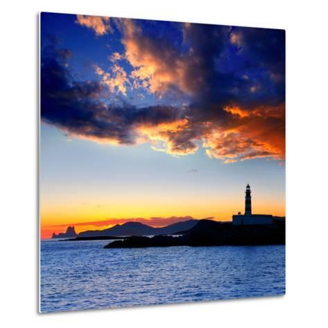Ibiza Island Sunset with Freus Lighthouse and Es Vedra in-Natureworld-Metal Print