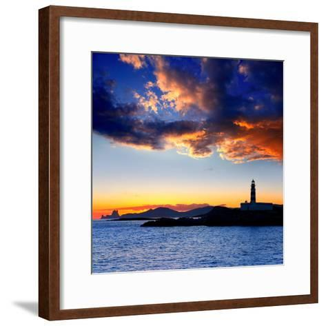 Ibiza Island Sunset with Freus Lighthouse and Es Vedra in-Natureworld-Framed Art Print