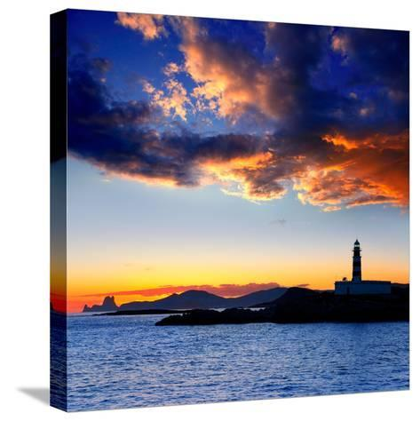 Ibiza Island Sunset with Freus Lighthouse and Es Vedra in-Natureworld-Stretched Canvas Print