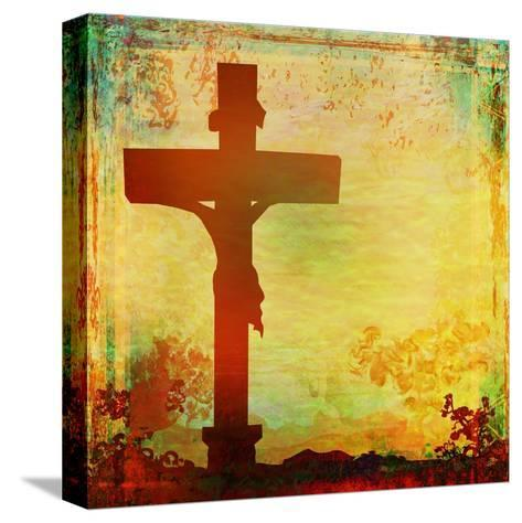 Jesus Christ Crucified, Grunge-JackyBrown-Stretched Canvas Print