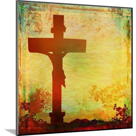 Jesus Christ Crucified, Grunge-JackyBrown-Mounted Art Print