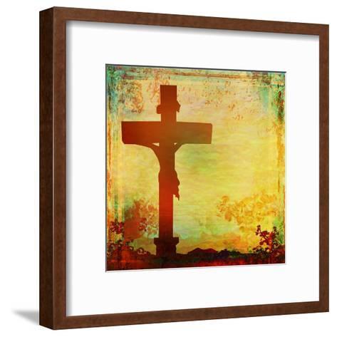 Jesus Christ Crucified, Grunge-JackyBrown-Framed Art Print
