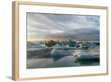 Jokulsarlon in Iceland - the Glacier or Glacial Lake - with Chunks of Iceberg Floating- Freespirittravel-Framed Art Print