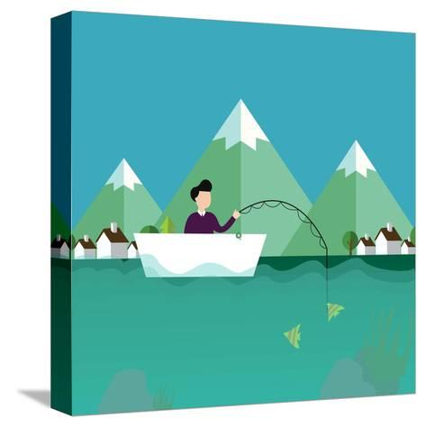 Man Fishing in Boat with Mountain Scenery Behind-Bakhtiar Zein-Stretched Canvas Print