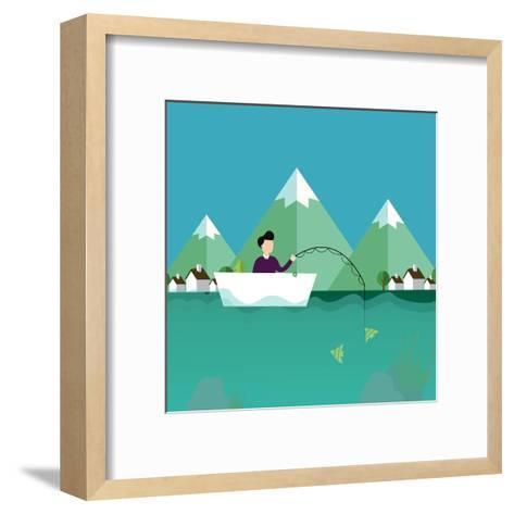 Man Fishing in Boat with Mountain Scenery Behind-Bakhtiar Zein-Framed Art Print