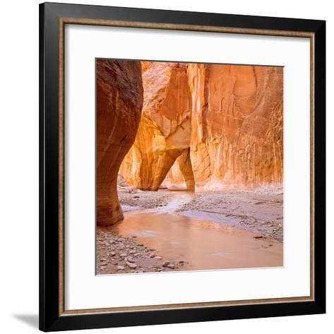 Paria River Flowing under Slide Rock in Narrow Canyon Near Kanab, Utah-John Lambing-Framed Art Print