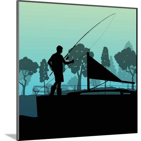 Man Fishing on Lake from Boat Landscape for Poster-Kristaps Eberlins-Mounted Art Print