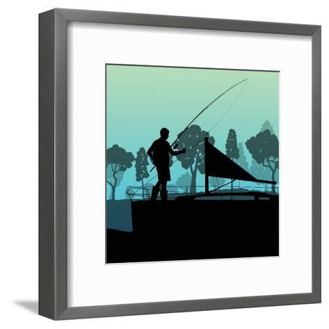 Man Fishing on Lake from Boat Landscape for Poster-Kristaps Eberlins-Framed Art Print