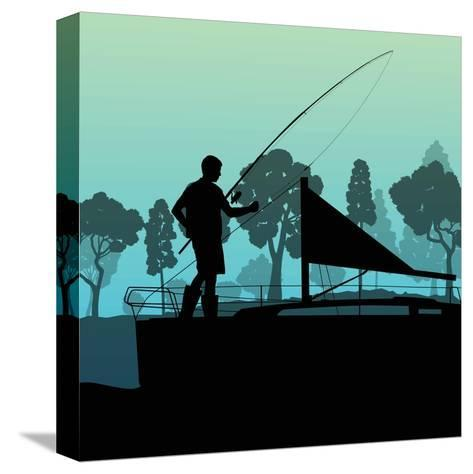 Man Fishing on Lake from Boat Landscape for Poster-Kristaps Eberlins-Stretched Canvas Print