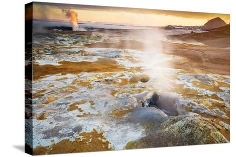 Geothermal Hot Springs, Mud Pots and Fumaroles, Namaskard Close to Lake Myvatn, Northern, Iceland-Ragnar Th Sigurdsson-Stretched Canvas Print