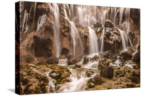 Pearl Shoals Waterfall in Jiuzhaigou National Park, China-John Crux-Stretched Canvas Print