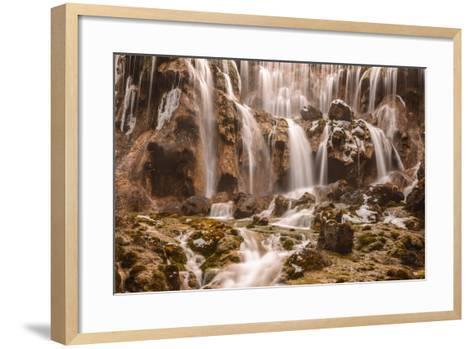 Pearl Shoals Waterfall in Jiuzhaigou National Park, China-John Crux-Framed Art Print