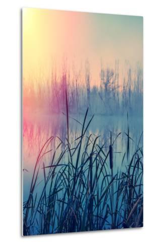 Misty Autumn Morning on the River, Rural Landscape-Andriy Solovyov-Metal Print