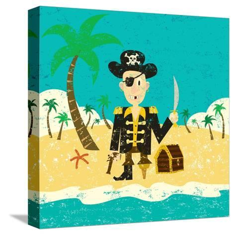 Pirate on an Island with Treasure a Pirate with His Treasure on a Deserted Island- Retrorocket-Stretched Canvas Print