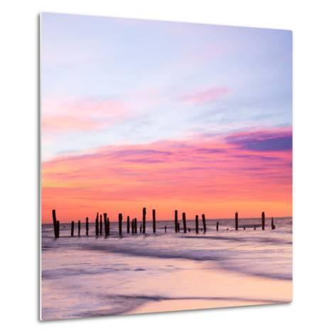 Old Sea Defences at Dawn, Smooth Water from Long Exposure-Travellinglight-Metal Print