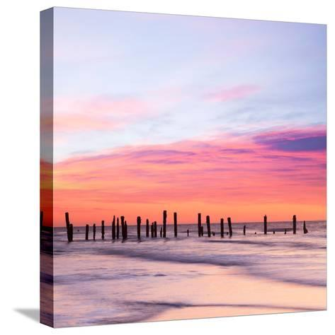 Old Sea Defences at Dawn, Smooth Water from Long Exposure-Travellinglight-Stretched Canvas Print