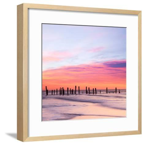 Old Sea Defences at Dawn, Smooth Water from Long Exposure-Travellinglight-Framed Art Print