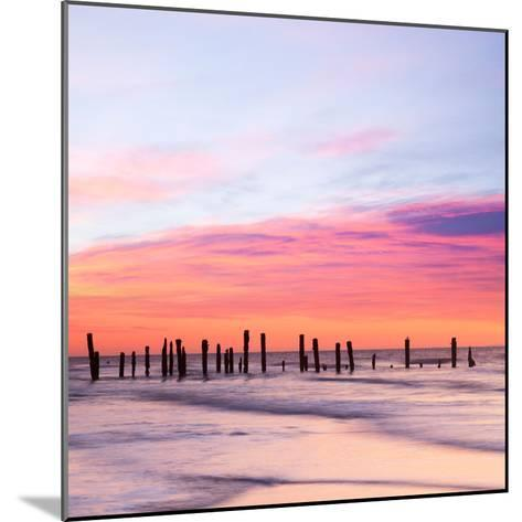 Old Sea Defences at Dawn, Smooth Water from Long Exposure-Travellinglight-Mounted Photographic Print