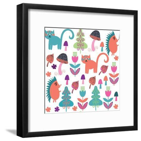 Cute Animals Seamless Pattern with Cats and Hedgehogs and Seamless Pattern in Swatch Menu, Vector-Luiza Kozich-Framed Art Print