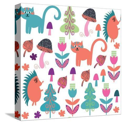 Cute Animals Seamless Pattern with Cats and Hedgehogs and Seamless Pattern in Swatch Menu, Vector-Luiza Kozich-Stretched Canvas Print